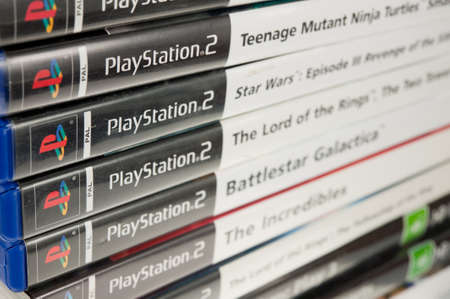 playstation: Adelaide, Australia - June 28, 2015: A collection of playstation 2 games. The Playstation 2 console was released in 2000 by Sony and went on to become the best selling games console in history. It has now been superseeded however the games and consoles ar