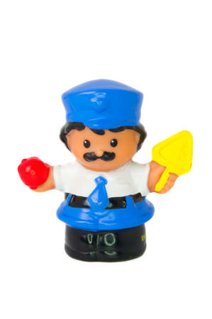 Adelaide, Australia - August 11 2014: A studio shot of a Fisher Price Little People Bus Driver. A popular developmental toy for young children.