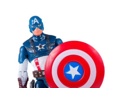 marvel: Adelaide, Australia - July 18, 2015:An isolated shot of a Captain America action figure from the Marvel universe. Merchandise from Marvel comics and movies are highy sought after collectables. Editorial