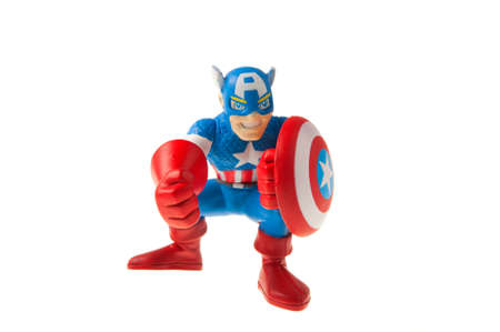 marvel: Adelaide, Australia - July 09, 2015:An isolated shot of a Captain America action figure from the Marvel universe. Merchandise from Marvel comics and movies are highy sought after collectables.