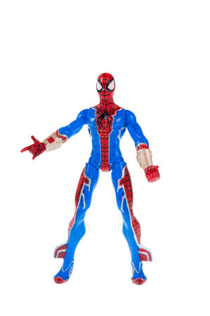spiderman: Adelaide, Australia - July 18, 2015:An isolated shot of a Spiderman action figure from the Marvel universe. Merchandise from Marvel comics and movies are highy sought after collectables. Editorial
