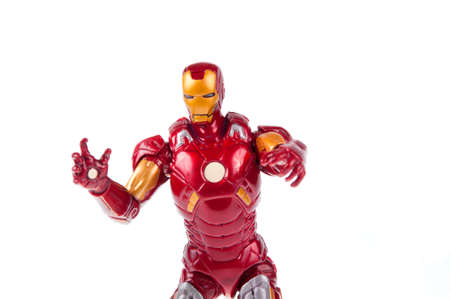 marvel: Adelaide, Australia - July 18, 2015:An isolated shot of a Iron Man action figure from the Marvel universe. Merchandise from Marvel comics and movies are highy sought after collectables.