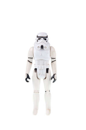 stormtrooper: Adelaide, Australia - July 18, 2015:An isolated shot of a 1977 vintage Stormtrooper action figure from the Star Wars movie. Merchandise from the Star Wars movies are highy sought after collectables. Editorial