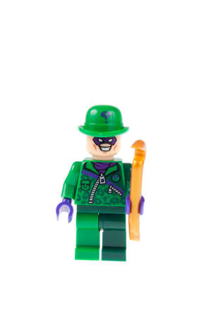 batman: Adelaide, Australia - July 18,2015:An isolated shot of the Riddler Custom Lego Minifigure from the Batman Universe. Lego is very popular with children and collectors worldwide.