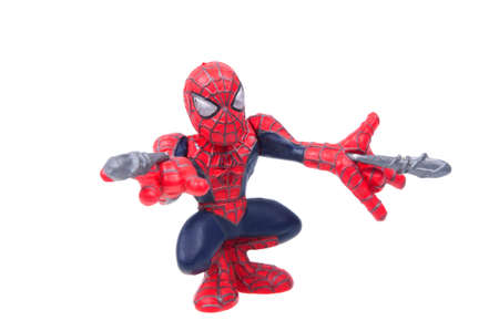 marvel: Adelaide, Australia - August 14, 2015: A Studio shot of a Spiderman Action Figure isolated on a white background. Merchandise from Marvel comics and movies are highly sought after collectables.
