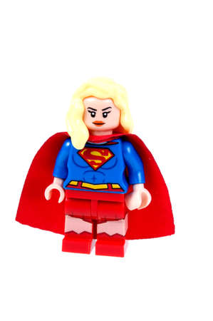 supergirl: Adelaide, Australia - September 07 2015:A studio shot of a Supergirl custom Lego minifigure from the DC comics universe. Lego is extremely popular worldwide with children and collectors.