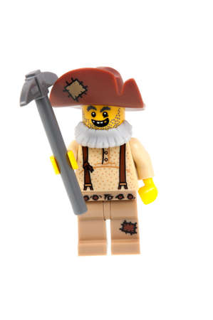 prospector: Adelaide, Australia - September 07 2015:A studio shot of a Prospector Lego minifigure from Minifigure Series 12. Lego is extremely popular worldwide with children and collectors.