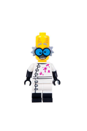 collectable: Adelaide, Australia - September 07, 2015:An isolated shot of a Monster Scientist Lego Minifigure from Series 14 of the collectable lego minifigure toys. Lego is very popular with children and collectors worldwide.