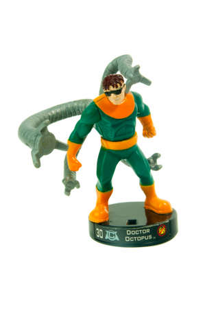 supervillian: Adelaide, Australia - April 21, 2015: A studio photo of a Doctor Octopus Action Figure from the Marvel Spiderman universe. Items of characters from the Marvel Studios universe are highly sough after collecatables.