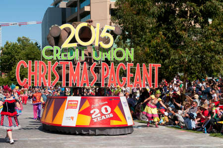 credit union: Adelaide, Australia - November 14, 2015: One of the floats in the annual credit union christmas pagaent. The parade is sponsored by South Australian Credit Unions and attracts over 300,000 people annually.