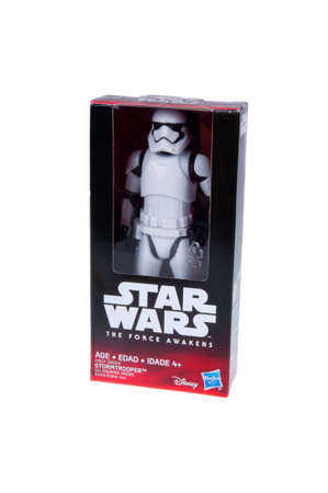 stormtrooper: Adelaide, Australia - November 06, 2015:An isolated shot of an unopened 2015 First Order Stormtrooper action figure from the Star Wars The Force Awakens movie.Merchandise from the Star Wars movies are highy sought after collectables.