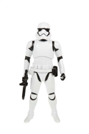 stormtrooper: Adelaide, Australia - November 06, 2015:An isolated shot of a 2015 First Order Stormtrooper action figure from the Star Wars The Force Awakens movie.Merchandise from the Star Wars movies are highy sought after collectables. Editorial