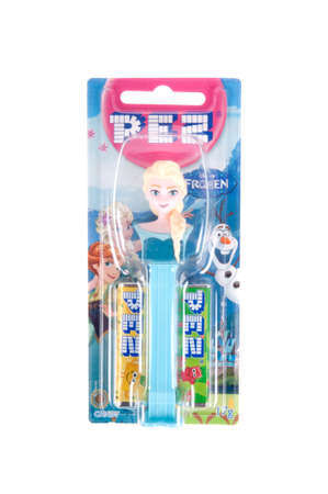 disney: Adelaide, Australia - September 28, 2015: A Elsa from Frozen Pez dispenser isolated on a white background. Pez is an Austrian company famous for its candy and its character mechanical dispensers. The Dispensers are highly sought after collectables.