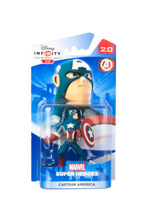 disney: Adelaide, Australia - April 13, 2015: A studio shot of a Captain America Figurine from the Marvel comics and movies. Marvel comics and movies are extremely popular worldwide. This figurine is part of the disney infinity 2.0 video game, where placing the f