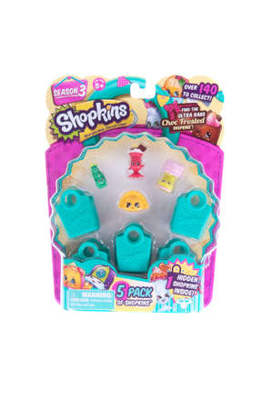 internationally: Adelaide, Australia - October 12,2015: A studio shot of a package of Shopkins. Shopkins are a popular range of girls toys which are Grocery Themed miniature characters.Made by Australian company Moose Toys and distributed internationally, with more 6 mill Editorial