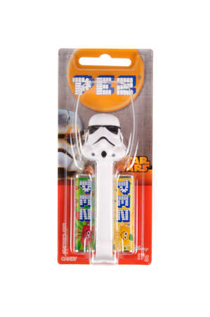 stormtrooper: Adelaide, Australia - September 28, 2015: A Stormtrooper Pez dispenser isolated on a white background. Pez is an Austrian company famous for its candy and its character mechanical dispensers. The Dispensers are highly sought after collectables.