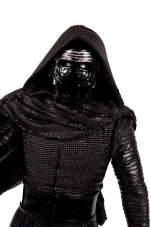 action figure: Adelaide, Australia - November 06, 2015:An isolated shot of an unopened 2015 Kylo Ren action figure from the Star Wars The Force Awakens movie.Merchandise from the Star Wars movies are highy sought after collectables.