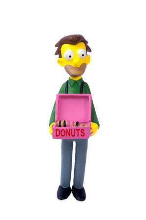 sought: Adelaide, Australia - May 04, 2015: An isolated image of a Lenny Leonard figurine. The Simpsons is the longest running animated TV series of all time. Items from the Simpson and Lego are highly sought after collectables. Editorial