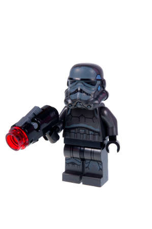 stormtrooper: Adelaide, Australia - September 10, 2015: A studio shot of a Shadow trooper Lego minifigure from the Star Wars movie series. Lego is popular with children and collectors worldwide. Editorial