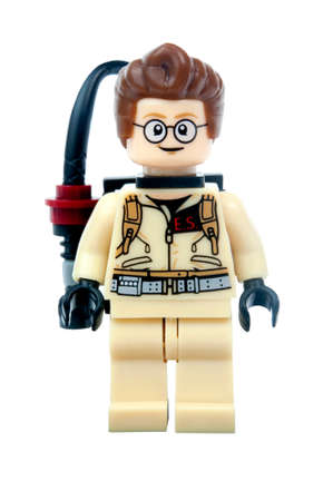 collectable: Adelaide, Australia - May 1, 2015: An Egon Spengler Ghostbusters Lego Minifigure from the popular Ghostbusters movie franchise, isolated on a white background. Lego is popular with collectors and children worlwide.