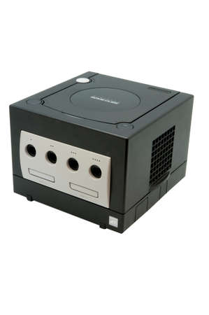 nintendo: Adelaide, Australia - October 27, 2014: A studio shot of a Black Nintendo Gamecube console. A popular game console sold by nintendo worldwide during the early 2000s.