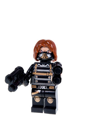marvel: Adelaide, Australia - October 12 2015:A studio shot of a Winter Soldier custom Lego minifigure from the Marvel comics universe. Lego is extremely popular worldwide with children and collectors.