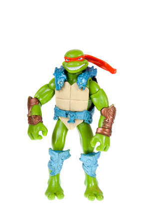 mutant: Adelaide, Australia - October 05, 2015: An isolated image of a Michelangelo Action Figure from the Teenage Mutant Ninja Turtles. Teenage Mutant Ninja Turtles is a very popular animated and movie series with merchandise being highly sought after collectabl
