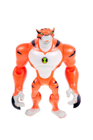 animated alien: Adelaide, Australia - September 28 2015:A studio shot of a Rath action figure from the Animated Series Ben 10.Ben 10 is extremely popular worldwide with children. Editorial