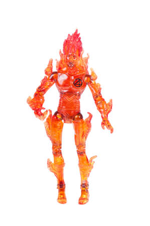 supervillian: Adelaide, Australia - October 05, 2015: A studio shot of a Human Torch action figure from the Marvel universe. Merchandise from Marvel comics and movies are highy sought after collectables.