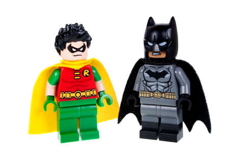 Adelaide, Australia - October 13, 2015: A studio shot of a Batman and Robin Lego minifigures from the DC comics and movies. Lego is extremely popular worldwide with children and collectors.