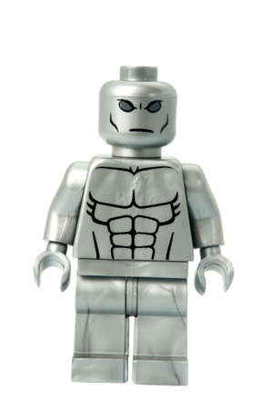 marvel: Adelaide, Australia - February 26 2015:A studio shot of a Silver Surfer custom Lego minifigure from the Marvel comics universe. Lego is extremely popular worldwide with children and collectors.