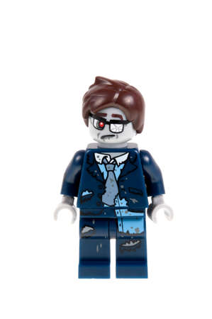 collectable: Adelaide, Australia - September 28, 2015:An isolated shot of a Zombie Businessman Lego Minifigure from Series 14 of the collectable lego minifigure toys. Lego is very popular with children and collectors worldwide. Editorial