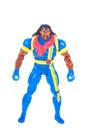 marvel: Adelaide, Australia - October 26, 2015:A studio shot of a Bishop action figure from Marvel Comics The X-Men. Marvel comics and movies are very popular and merchandise are highly sought after collectables.
