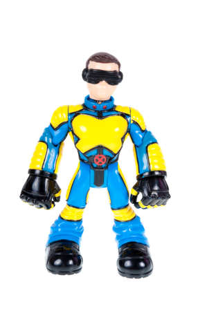 marvel: Adelaide, Australia - October 05, 2015: A studio shot of a Cyclops action figure from the X-Men Marvel universe. Merchandise from Marvel comics and movies are highy sought after collectables.