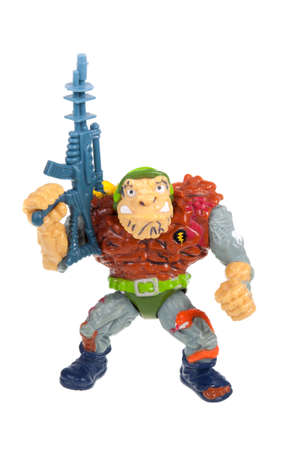 playmates: Adelaide, Australia - November 03, 2015: An isolated image of a Vintage General Traag Action Figure from the Teenage Mutant Ninja Turtles. Teenage Mutant Ninja Turtles is a very popular animated and movie series with merchandise being highly sought after