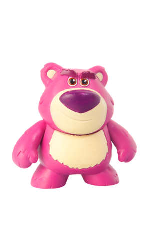 disney: Adelaide, Australia - March 20, 2015: A studio shot of a figurine of the character Lot so huggin bear from the Toy Story 3 movie on a white background. A character featured in the popular disney movie series.