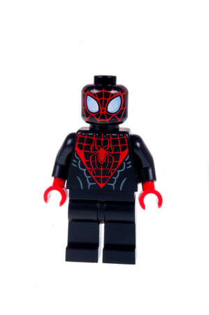 spiderman: Adelaide, Australia - October 26, 2015: A studio shot of a Ultimate Spiderman Lego Compatible minifigure from the Marvel Comics and Movies. Lego is extremely popular worldwide with children and collectors. Editorial