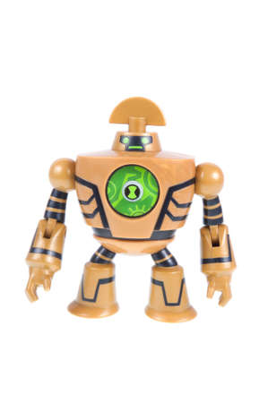 animated alien: Adelaide, Australia - September 28 2015:A studio shot of a Clockwork action figure from the Animated Series Ben 10.Ben 10 is extremely popular worldwide with children.