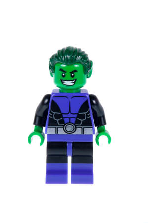 titans: Adelaide, Australia - October 13, 2015: A studio shot of a Beast Boy Lego minifigures from the Batman DC comics and movies. Lego is extremely popular worldwide with children and collectors.