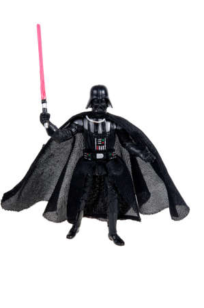 Adelaide, Australia - November 22, 2015: A studio shot of a Darth Vader action figure from the movie series Star Wars. Merchandise from the Star Wars universe are highly sought after collectables.