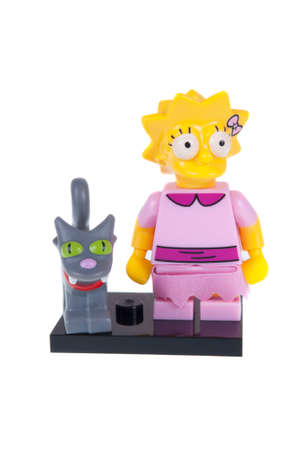 simpson: Adelaide, Australia - October 26, 2015: An isolated image of a Lisa Simpson Series 2 Lego Minifigure. The Simpsons is the longest running animated TV series of all time. Items from the Simpson and Lego are highly sought after collectables. Editorial