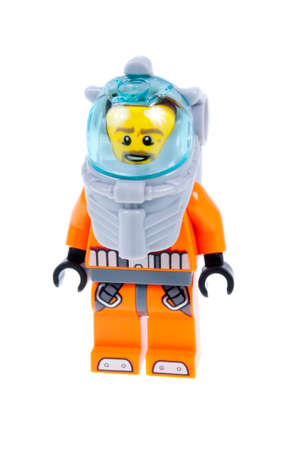 deep sea diver: Adelaide, Australia - October 01, 2015: A studio shot of a Lego City Deep Sea Diver Minifigure from the 60091 Deep Sea Starter Set Kit from the popular Lego City series. Lego is extremely popular worldwide with children and collectors.