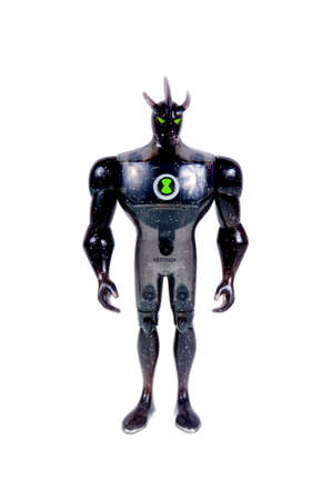animated alien: Adelaide, Australia - September 28 2015:A studio shot of a Alien X action figure from the Animated Series Ben 10.Ben 10 is extremely popular worldwide with children. Editorial
