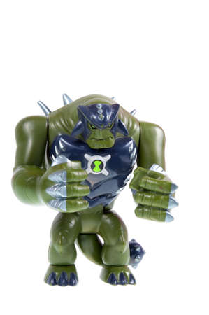 animated alien: Adelaide, Australia - September 28 2015:A studio shot of a Ultimate Humungousaur action figure from the Animated Series Ben 10.Ben 10 is extremely popular worldwide with children. Editorial