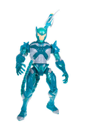 marvel: Adelaide, Australia - October 05, 2015: A studio photograph of a Poison Blast Scorpion action figure, a villian from the Marvel Spiderman universe.Merchandise from Marvel comics and movies are highly sought after collectables.
