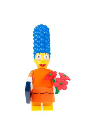 marge: Adelaide, Australia - September 7, 2015: A Studio Shot of a Series 2 Marge Simpson Lego Minifigure from the television series The Simpsons. This figure is part of a collection of 16 minifigures released to coincide with the release of Simpsons Lego.