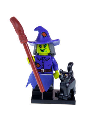 wacky: Adelaide, Australia - October 26, 2015:An isolated shot of a Wacky Witch Lego Minifigure from Series 14 of the collectable lego minifigure toys. Lego is very popular with children and collectors worldwide.