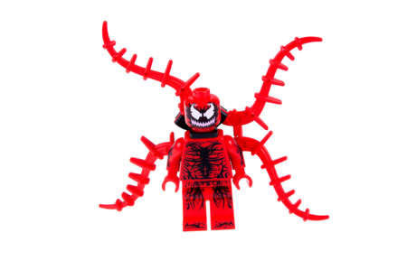 marvel: Adelaide, Australia - October 26, 2015: A studio shot of a Carnage Lego Compatible minifigure from the Marvel Comics and Movies. Lego is extremely popular worldwide with children and collectors. Editorial