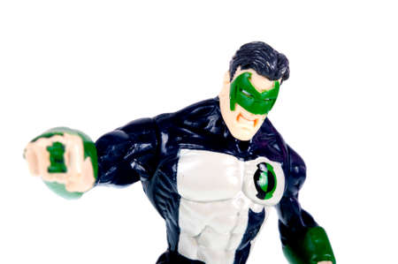 action figure: Adelaide, Australia - October 26, 2015: A Green Lantern action figure isolated on a white background. A character from the DC Comics universe. Merchandise from the DC Comics universe are highly sought after collectables.