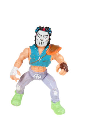 playmates: Adelaide, Australia - November 03, 2015: An isolated image of a Vintage Casey Jones Action Figure from the Teenage Mutant Ninja Turtles. Teenage Mutant Ninja Turtles is a very popular animated and movie series with merchandise being highly sought after co Editorial
